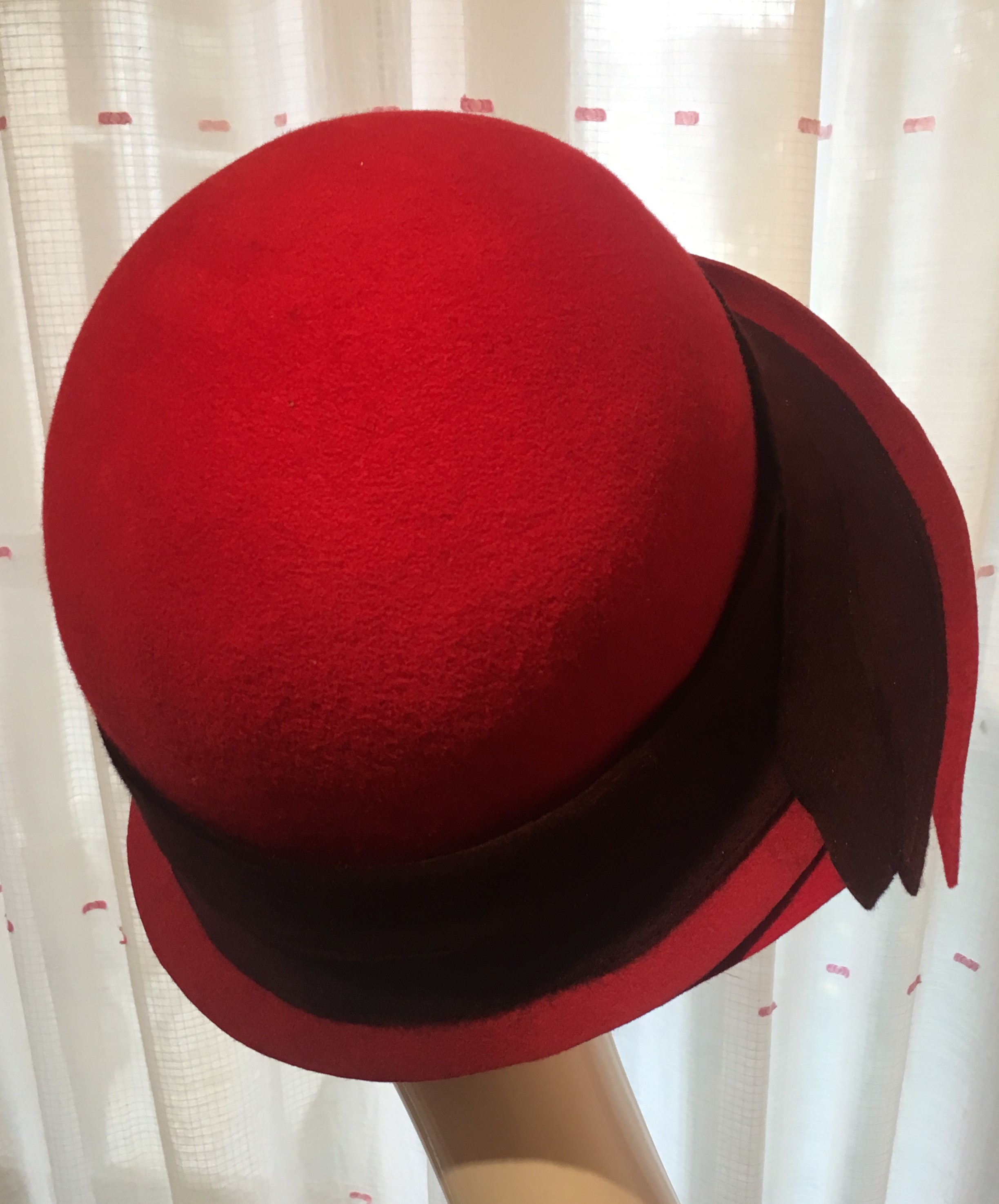 chapeau Mary Colibri feutre rouge