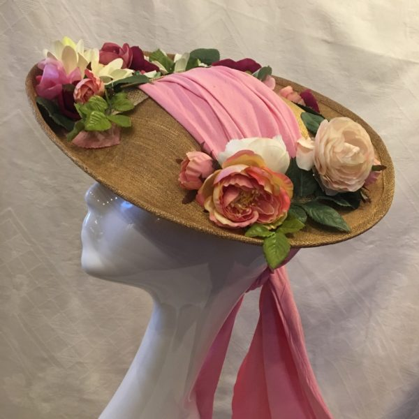 capeline cérémonie or et rose