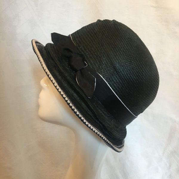 chapeau cloche noir et blanc Mary Colibri